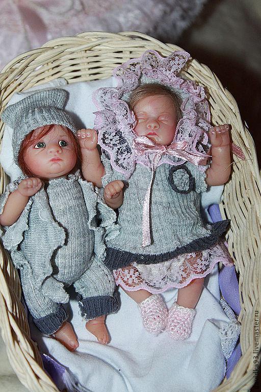 """Куклы-младенцы и reborn ручной работы. Ярмарка Мастеров - ручная работа. Купить мини-реборн """"Сладкая парочка"""". Handmade. Бежевый"""