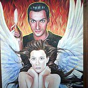 """Картины и панно ручной работы. Ярмарка Мастеров - ручная работа картина маслом """" ангел и демон"""". Handmade."""