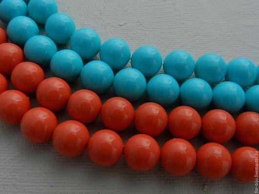 Жемчуг Shell Pearl (аналог майорки)  , цвет коралловый и голубой (бирюзовый) , размер 10 мм, отверстие около 0,8-1 мм. Основа бусины изготовлена из прессованных ракушек, покрытие перламутр. (арт. 1761