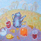"""Картины и панно ручной работы. Ярмарка Мастеров - ручная работа Картина маслом """"Осенний чай"""". Handmade."""