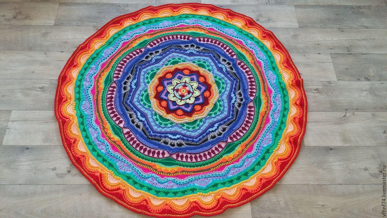 Вязание круглого коврика крючком для начинающих из тряпок