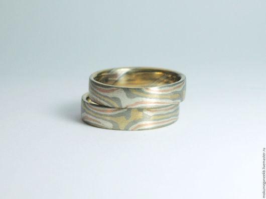 Кольца ручной работы. Ярмарка Мастеров - ручная работа. Купить Обручальные кольца в технике Мокуме Гане. Handmade. Разноцветный, свадьба
