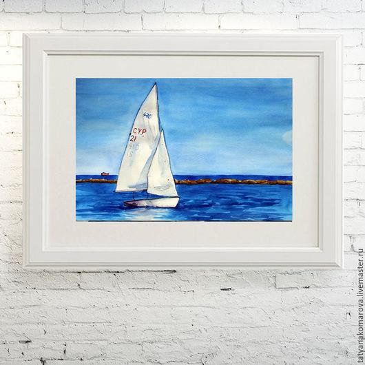 """Пейзаж ручной работы. Ярмарка Мастеров - ручная работа. Купить Акварельная картина """"Парусник"""". Handmade. Синий, белый, акварель"""