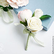 Свадебный салон ручной работы. Ярмарка Мастеров - ручная работа Бутоньерка с цветами из полимерной глины. Handmade.