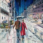 Картины и панно handmade. Livemaster - original item Paintings: oil painting Rainy evening. Handmade.