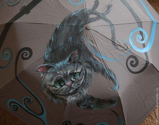 """Зонты ручной работы. Ярмарка Мастеров - ручная работа. Купить Зонт """"Чеширский кот"""". Handmade. Серый, голубой, чеширский кот"""