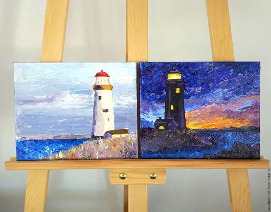 Пейзаж ручной работы. Ярмарка Мастеров - ручная работа. Купить Картина акрил холст Маяк днем и ночью, диптих. Синий белый голубой. Handmade.