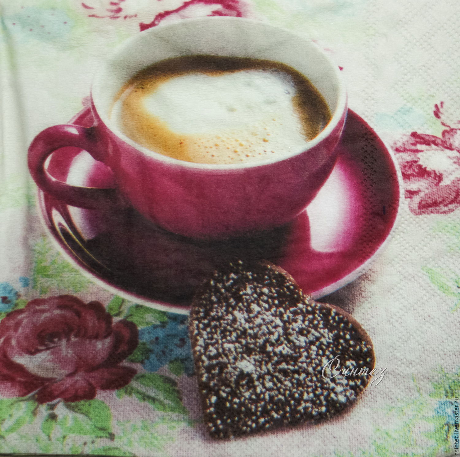 5pcs napkins for decoupage a Cup of coffee with gingerbread heart, Napkins for decoupage, Moscow,  Фото №1