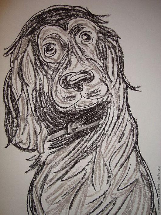 Животные ручной работы. Ярмарка Мастеров - ручная работа. Купить Рисунок Спаниеля. Handmade. Рисунок, пастель, черный цвет, карандаш