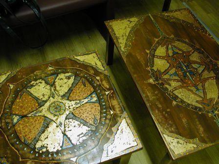 Мебель ручной работы. Ярмарка Мастеров - ручная работа. Купить СТОЛИКИ. Handmade. Сусальное золото, дерево, золото, роспись