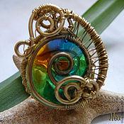 Украшения handmade. Livemaster - original item Ring brass with stained glass insert from the