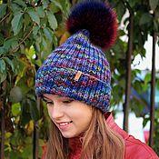 Шапки ручной работы. Ярмарка Мастеров - ручная работа Осенняя вязаная шапка из мериноса с меховым помпоном, модная шапка. Handmade.