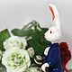 Коллекционная кукла - статуэтка Белый Кролик с часами, сказочный мир (волшебный мир) Льюиса Керролла, кукла в подарок - сказочный персонаж из произведения `Алиса в Стране чудес` (подарок на Новый год)