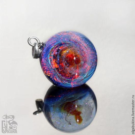 Кулоны, подвески ручной работы. Ярмарка Мастеров - ручная работа. Купить Кулон шар космос Всплеск фейерверк. Галактика. Голубой малиновый синий. Handmade.