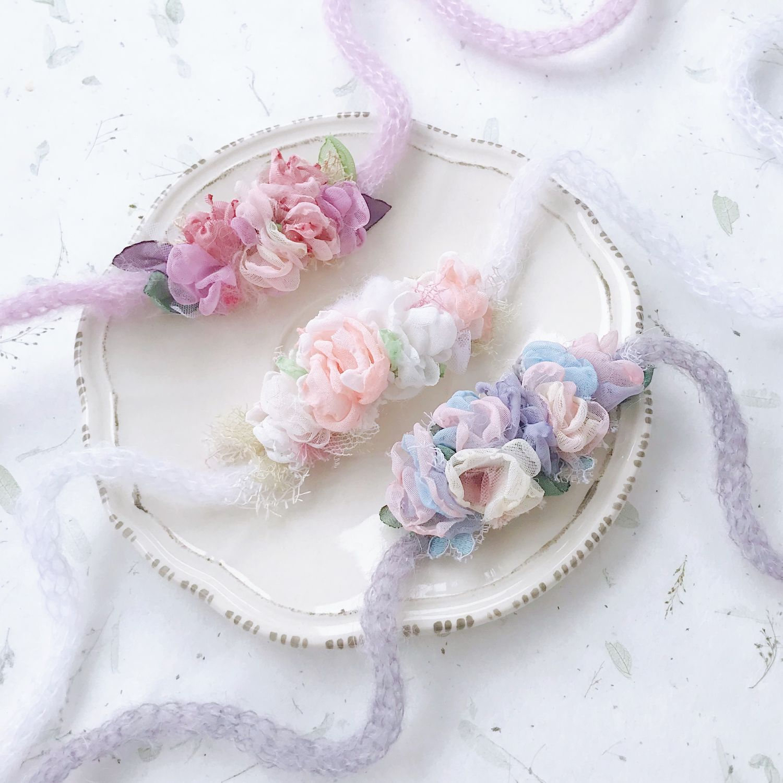 Комплект повязок на голову для новорожденных Flower, Ободки и повязки на голову, Москва,  Фото №1