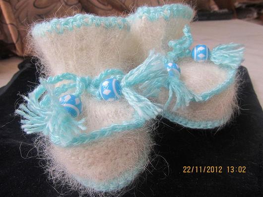 """Для новорожденных, ручной работы. Ярмарка Мастеров - ручная работа. Купить Пинетки """"Снежок"""" из собачьей шерсти. Handmade. Белый"""