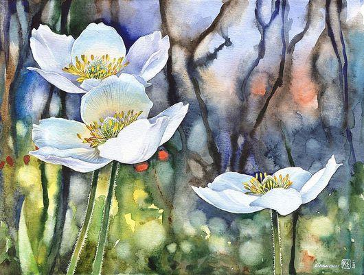 Картины цветов ручной работы. Ярмарка Мастеров - ручная работа. Купить Анемоны. Handmade. Картина в подарок, цветы, акварель