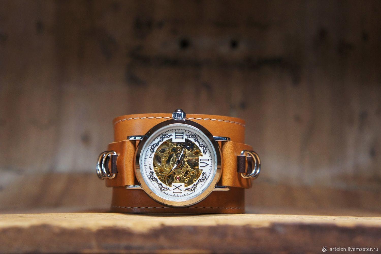 часы наручные кожа часы на кожаном ремне кожаный ремешок браслет на часы скелетон часы на широком ремне коричневый рыжий часы серебро натуральная кожа часы женские часы мужские прозрачные часы ремешок
