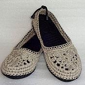 Обувь ручной работы. Ярмарка Мастеров - ручная работа Балетки вязаные Льняной шик, р.38, лен, серый. Handmade.
