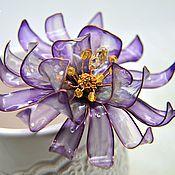 Украшения ручной работы. Ярмарка Мастеров - ручная работа Стекловидный фиолетовый цветок - шпилька для волос. Handmade.