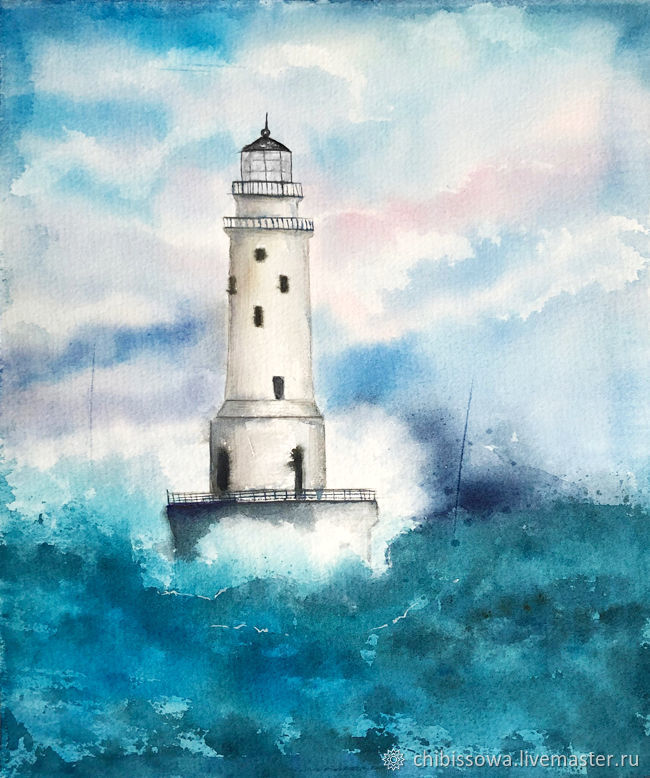Landscapes handmade. Livemaster - handmade. Buy 'Lighthouse'.Blue, watercolor, landscape, picture, picture to order, painting watercolor