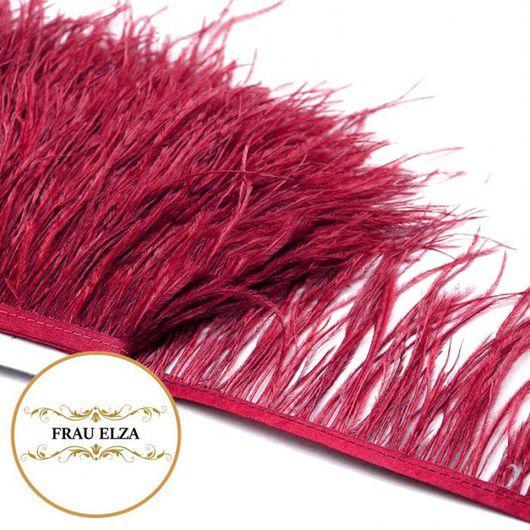 Другие виды рукоделия ручной работы. Ярмарка Мастеров - ручная работа. Купить Перья страуса на ленте винные. Handmade.