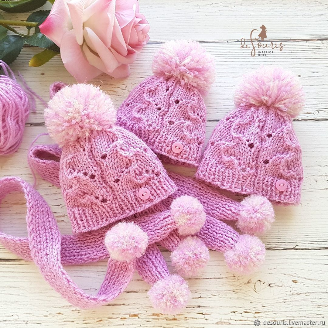 Knitted hat and scarf for doll 'Pale fuchsia' 22 - 23 cm, Clothes for dolls, Voronezh,  Фото №1