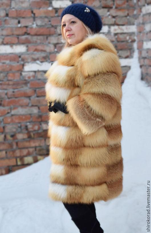 Верхняя одежда ручной работы. Ярмарка Мастеров - ручная работа. Купить Шуба из меха  рыжей лисы.Без воротника, рукав 7/8.. Handmade.