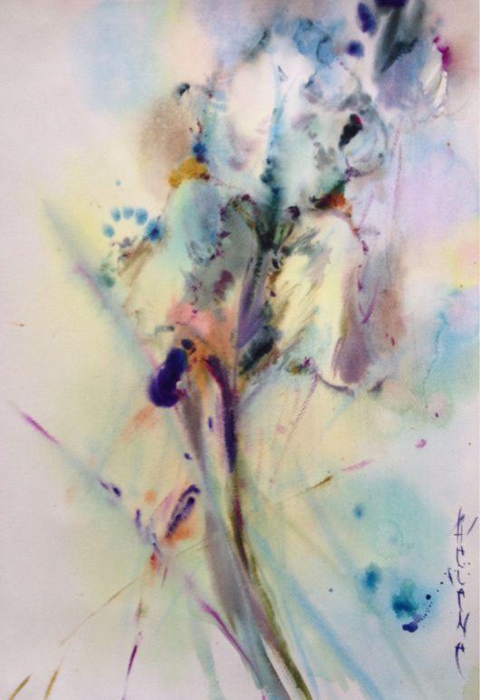 Картины цветов ручной работы. Ярмарка Мастеров - ручная работа. Купить Акварель белый ирис. Handmade. Ирис, белый, цветок