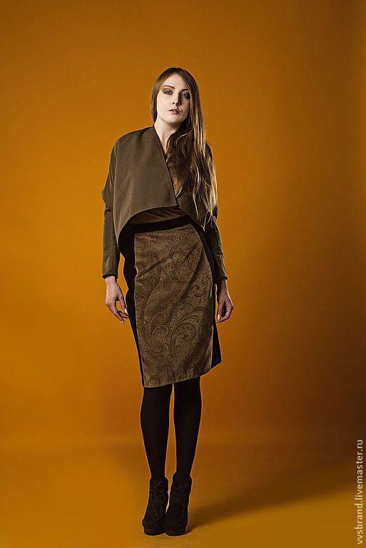 Юбки ручной работы. Ярмарка Мастеров - ручная работа. Купить Бархатная юбка со вставкой спереди. Handmade. Коричневый, бархат