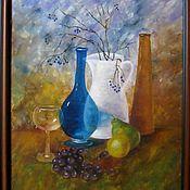 Картины ручной работы. Ярмарка Мастеров - ручная работа Натюрморт с посудой и фруктами. Handmade.