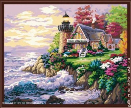 Другие виды рукоделия ручной работы. Ярмарка Мастеров - ручная работа. Купить Раскраска по номерам «Дом у маяка». Handmade.
