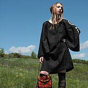 Одежда handmade. Livemaster - original item Black Linen Dress «Gothika». Handmade.