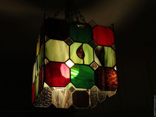 Освещение ручной работы. Ярмарка Мастеров - ручная работа. Купить Светильник витражный. Handmade. Витраж, зеленый, витраж купить