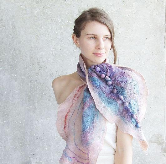 Шарфы и шарфики ручной работы. Ярмарка Мастеров - ручная работа. Купить Нуновойлочный шарф, шибори, очень нежный. Handmade.
