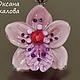 Кулон орхидея `Пинки` ,  подвеска цветок, подарок подруге