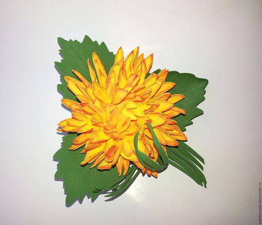 """Броши ручной работы. Ярмарка Мастеров - ручная работа. Купить Брошь """"Желтая хризантема"""" из фоамирана. Handmade. Желтый, купить подарок"""
