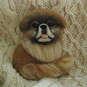 Украшения handmade. Livemaster - original item Felted portrait brooch Pekingese. Handmade.