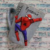 Посуда ручной работы. Ярмарка Мастеров - ручная работа Кружка человек паук из полимерной глины. Handmade.