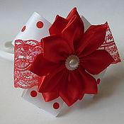 Работы для детей, handmade. Livemaster - original item Bezel with white red bow polka dot. Handmade.