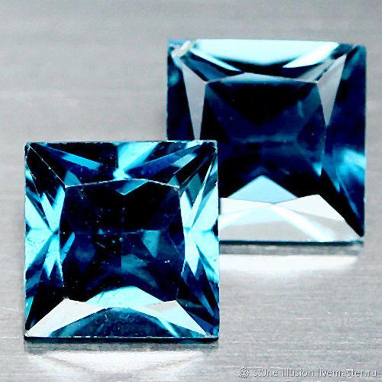 Комплекты украшений ручной работы. Ярмарка Мастеров - ручная работа. Купить Топаз голубой London VVS натуральный, принцесса, 6х6 мм, 14 шт. Handmade.