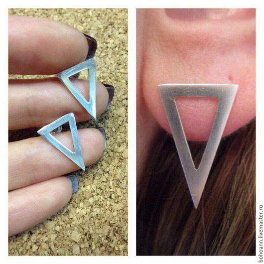 Серьги ручной работы. Ярмарка Мастеров - ручная работа. Купить Сережки Треугольники. Handmade. Серебро, геометрия, треугольник, сережки