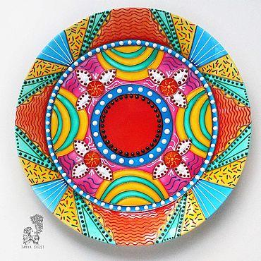 """Посуда ручной работы. Ярмарка Мастеров - ручная работа Мандала """"Гармония в семье"""" - декоративная тарелка на стену. Handmade."""