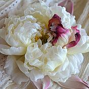 Украшения handmade. Livemaster - original item Silk flowers.Brooch Peony Soft. Handmade.