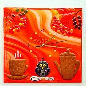 Для дома и интерьера handmade. Livemaster - original item Wall clock in the technique of fusing Coffee. Handmade.