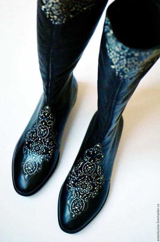 """Обувь ручной работы. Ярмарка Мастеров - ручная работа. Купить Сапоги """"Восточные сказки"""". Handmade. Черный, сапоги демисезонные"""