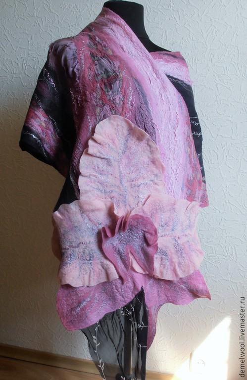 """Шали, палантины ручной работы. Ярмарка Мастеров - ручная работа. Купить Валяный палантин """"Лиловая орхидея"""". Handmade. Разноцветный"""