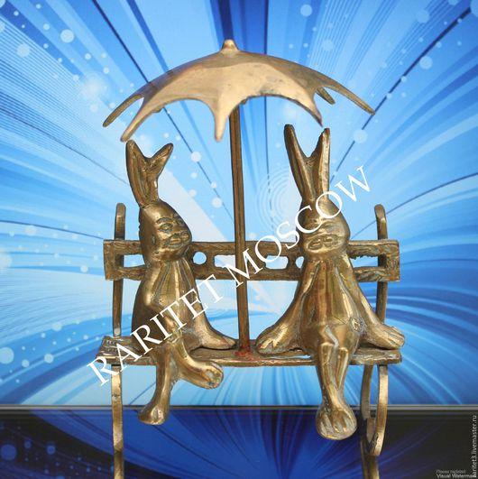 Винтажные предметы интерьера. Ярмарка Мастеров - ручная работа. Купить Заяц пара под зонтом бронза латунь Англия 2. Handmade.