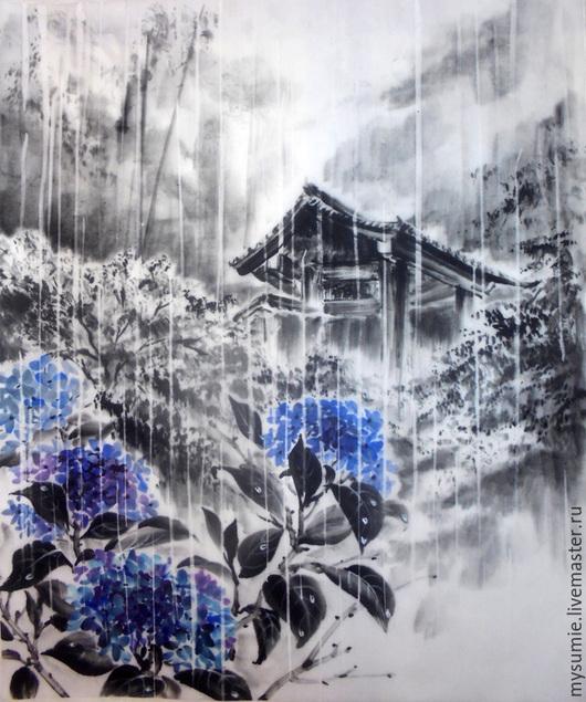 Пейзаж ручной работы. Ярмарка Мастеров - ручная работа. Купить Сезон дождей. Handmade. Синий, япония, картина, картина с цветами