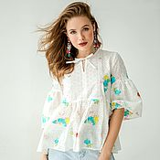 Одежда handmade. Livemaster - original item Blouse from sewing with embroidery. Handmade.